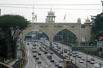 Petaling Jaya - The Kota Darul Ehsan arch over the Federal Highway, as seen from the Kuala Lumpur side.