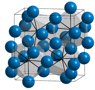 Cementite - Orthorhombic Fe3C. Iron atoms are blue.