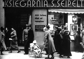 Bookselling - A bookshop in Łódź, Poland, 1935
