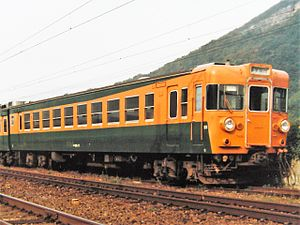155 series - A 155 series EMU in Shonan orange and green livery