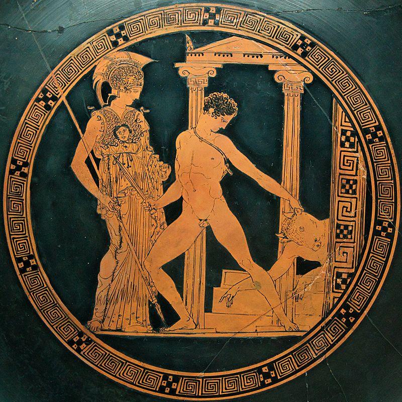 Тесей убивающий Минотавра и Афина