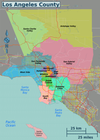 The regions of Los Angeles County