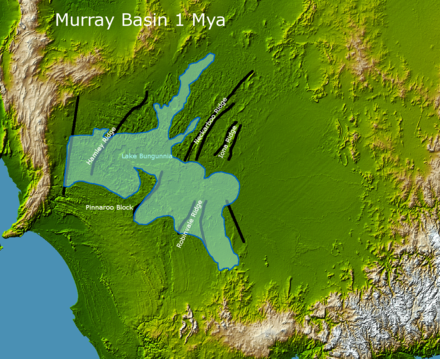 Lake Bungunnia around 1Mya Lake Bungunnia of the Murray Basin.png