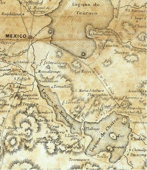 Lake Xochimilco - Lake Xochimilco, in a detail from the 1847 Bruff/Disturnell map