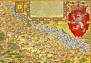 Nysa, Poland - Neisse in 1561 on 1. map of Silesia by Martin Helwig (map in reverse)
