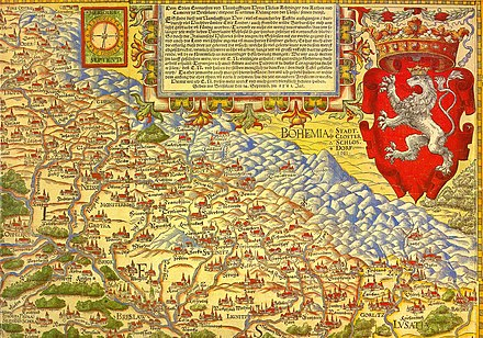 First map of Silesia by Martin Helwig, 1561; north at the bottom Landkarte von Schlesien.jpg