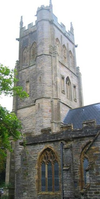 Langport - Langport All Saints, showing the back of the square tower with its octagonal stair turret