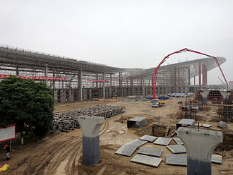Lanzhou Zhongchuan International Airport - New terminal at Lanzhou Airport under construction to the immediate south of the existing terminal.