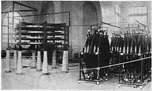 """Compagnie générale de la télégraphie sans fil - Huge spiral """"pancake"""" inductors at Sainte Assise in 1922"""