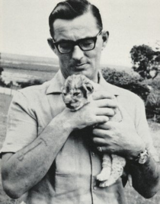 Mara the Lioness - Larry Wateridge with Mara shortly after she was found, 1965