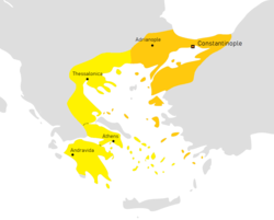 The Latin Empire with its vassals (in brighter yellow) after the Treaty of Nymphaeum in 1214.