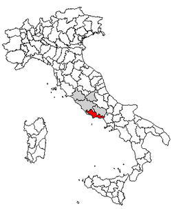Location of Province of Latina