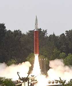 Launch of DRDO's Ballistic Missile Defence interceptor missile for an ASAT test on 27 March 2019.jpg