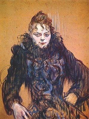 Feather boa - Woman with a black feather boa, c. 1892, by Henri de Toulouse-Lautrec