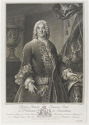 Charles François Paul Le Normant de Tournehem - Le Normant de Tournehem, engraving after his portrait by Louis Tocqué; the Medici Vase looms in the background