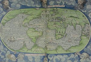 Dieppe maps - Guillaume Le Testu's 1556 Cosmographie Universel, 4me projection, where the northward extending promontory of the Terre australle is called Grande Jaue.