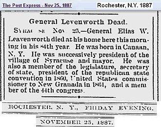Elias W. Leavenworth - Death Notice