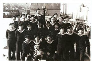 "Leif Larsen - Leif Larsen (""Shetlands"" Larsen) with his crew on board Vigra"