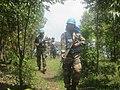 Les Casques bleus déployés à la base opérationnelle de la MONUSCO, à Munigi, en patrouille dans leur zone de responsabilité. (16106099837).jpg