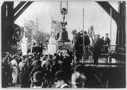 Library of Congress image of the Liberty Bell in transport, circa 1905.