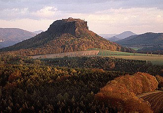 Elbe Sandstone Mountains - Lilienstein, one of several small mesas in the Saxon part of the Elbe Sandstone Mountains