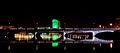 Limerick Clarion Hotel Green for St Patricks day behind Sarsfield Bridge.jpg