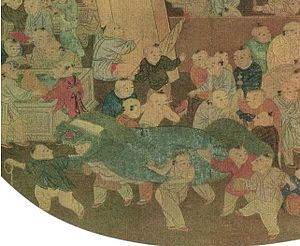 "Lion dance - Details of the Song Dynasty painting ""One Hundred Children Playing in the Spring"" (百子嬉春图页) by Su Hanchen (苏汉臣) showing children performing the lion dance."