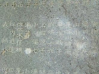Akiko Yosano - Engraved on the back of the Ichiyo Higuchi monument. The names of sponsors Yosano Akiko and Mori Ogai can be confirmed. (Taken April 8, 2011)