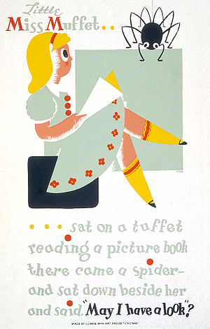 Tuffet - 1940s poster promoting reading among children, depicting Little Miss Muffet sitting on a tuffet