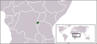 A map showing the location of Rwanda