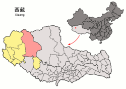 Location of Gêrzê County within Tibet