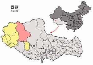 Gêrzê County - Image: Location of Gêrzê within Xizang (China)
