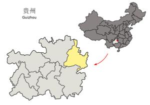 Tongren - Image: Location of Tongren Prefecture within Guizhou (China)