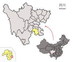 Location of Xingwen County (red) within Yibin City (yellow) and Sichuan