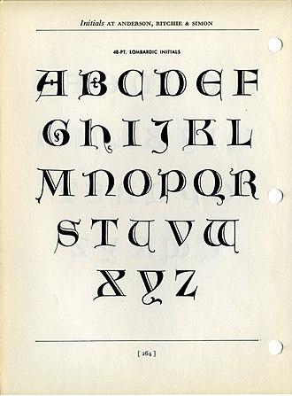 Lombardic capitals - Goudy's Lombardic Capitals, metal type