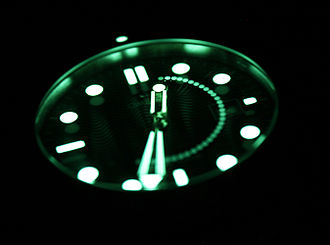 Long-exposure photography - A long exposure photo of a watch in the dark. Note the appearance of the second hand as it rotates, showing that this was a 30-second exposure. The hour hand (which has only moved barely) is clear, while the minute hand is slightly blurry from a half a minute of movement.