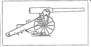 155 mm Creusot Long Tom - Long Tom drawing in manual, showing pivot plate, hydraulic recoil cylinder, chock and two kinds of trunnion cups.