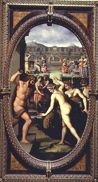 Studiolo of Francesco I - Image: Lorenzo dello Sciorina Hercules mata al dragón de las Hespérides Studiolo