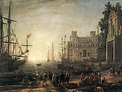 Seaport, a painting by Claude Lorrain, 1638