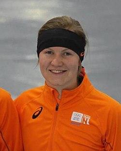 Lotte van Beek (Women's 1500m, 2014 Winter Olympics, Podium).jpg
