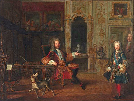 Louis with the regent, Philippe of Orleans (1718) LouisXV DucOrleans.jpg
