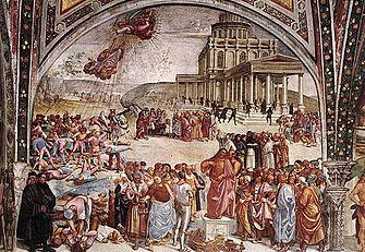 Luca signorelli, cappella di san brizio, predica e punizione dell'anticristo 01