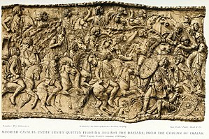 Military history of Morocco - Mauritanian cavalry under Lusius Quietus (a Berber prince) fighting in the Dacian wars. Berber cavalry fought with shield and throwing javelins.
