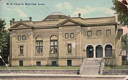 M. E. Church, Red Oak, Iowa. 1920s postcard