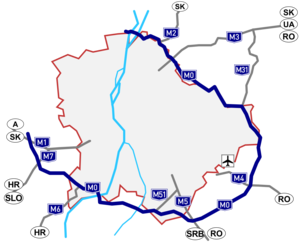 M0 motorway (Hungary) - Image: M0 térkép