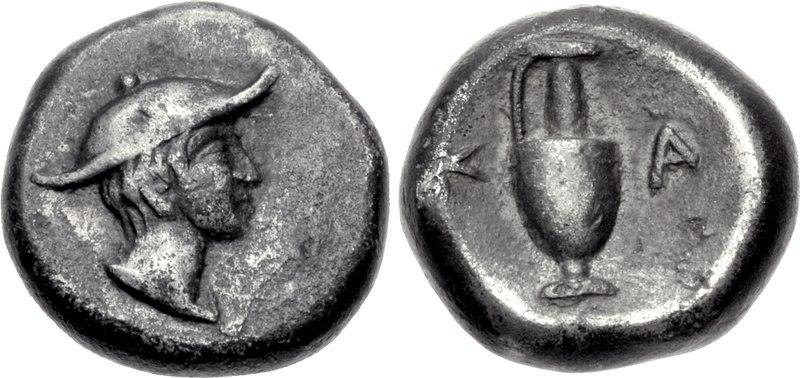 MACEDON, Kapsa. Late 5th-4th centuries BC. AR Diobol (10mm, 1.20 g, 5h). Head of Hermes right, wearing winged petasos One-handled lekythos