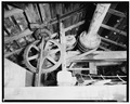 MACHINERY DETAIL IN LOFT - Peters Mill, U.S. Route 209 and T301, Bushkill, Pike County, PA HABS PA,52-BUSH,2-11.tif