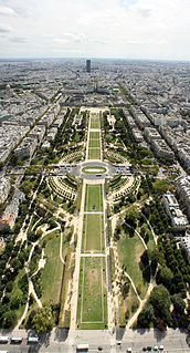 Champ de Mars large public green space in Paris, France