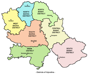 Districts of Serbia - Districts in Vojvodina.