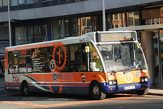 Metroshuttle - First Manchester Optare Solo on Manchester route 1 in October 2009
